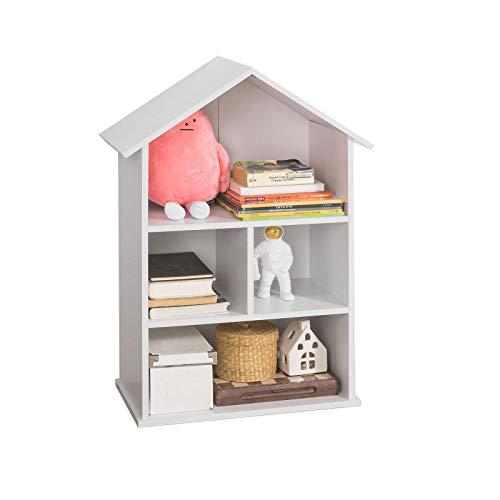 SoBuy KMB02-W Bücherregal für Kinder Hausform Puppenhaus Kinderregal Aufbewahrungsregal Bücherschrank mit 4 offenen Fächern, BHT ca.: 64x89x29cm