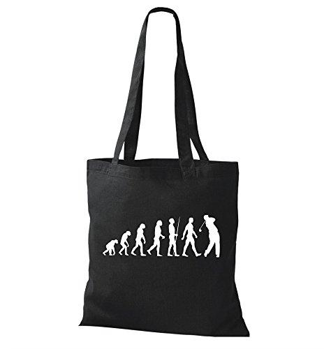 Jutebeutel Stoffbeutel Evolution Golf Golfer Golfen Golfsport Baumwolltasche Bag - schwarz