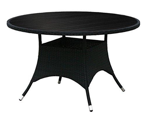 Kmh Gartentisch Mit Scharzem Polyrattan Und Schwarzer Tischplatte