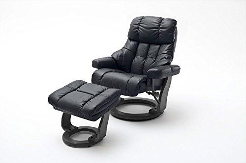 lifestyle4living Relaxsessel XXL aus Leder in Beige mit Hocker | Fernsehsessel ist 360° drehbar und hat verstellbare Rückenlehne | Sessel lädt zum Entspannen EIN