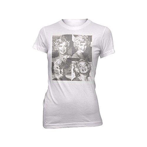 Marilyn Monroe Square Juniors White T-Shirt   L (Monroe T-shirt Juniors Marilyn)
