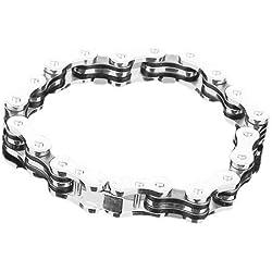 TOOGOO (R) Estilo de la cadena de bicicleta de acero inoxidable pulsera para hombre w / caja de regalo