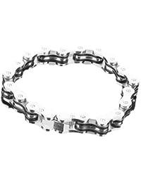 SODIAL (R) Estilo de la cadena de bicicleta de acero inoxidable pulsera para hombre w / caja de regalo