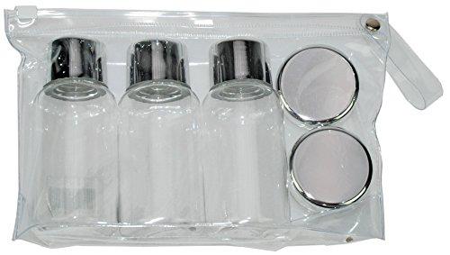 Fantasia Set comprenant 2 petites boîtes et 3 flacons en plastique vides pour kit de voyage Couvercles argentés 15 g/85 ml