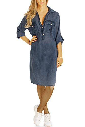 Bestyledberlin Damen Blusenkleider, Relaxed Fit Hemdkleider, Knielange Tunkia-Kleider t57z dunkelblau (Low-cut-tiefer Top V-neck)