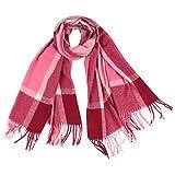 Xmiral Damen Plaid Schal Quaste Wrap Tücher Stirnband Soft Winter Warm Long Scarf(Rosa)