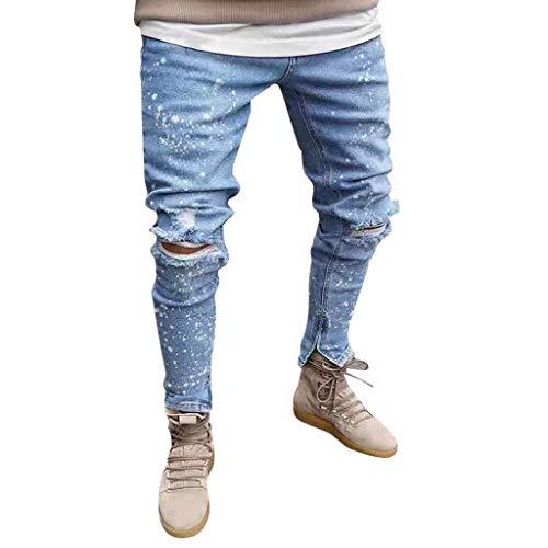 Hahuha Herrenhosen,Men Solid Denim Cotton Straight Pocket Elastic Trouser Distressed Jeans Pants