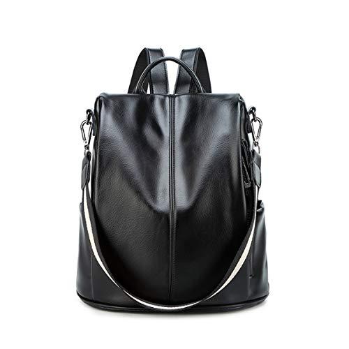 Leder Multi-tasche Rucksack (JOSEKO Damen Rucksackhandtasche, Frauen Mode Rucksack Geldbörse PU Reise Schultertasche Umhängetasche Wasserdichte Freizeit Multi-Funktion Schwarz)