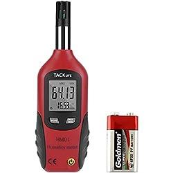 Higrómetro Termómetro, Tacklife HM01 Medidor de Humedad y Temperatura, Rango de (-20 ℃ ~ 80 ℃), (0% ~ 100% RH), Precisión de +/-0.8℃, +/-2% RH, Batería Incluida de 9 V