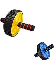 1 Pieza Rodillo Abdominal + 1 Pieza Rodillera Rueda Doble Ejercitador Gimnasia Muscular De Hoagr Fitness - Amarillo, 24.5cm