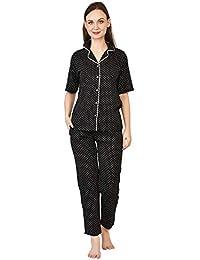 Stylemyth Women Cotton Black Polka Print Top and Pajama Night Suit