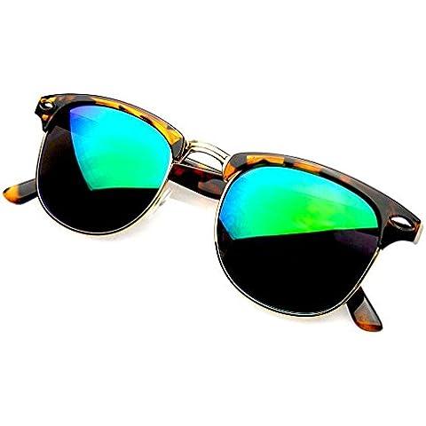 Emblem Eyewear - La Moda Retro Medio Marco Espejo Flash Clubmaster Wayfarer Gafas De Sol