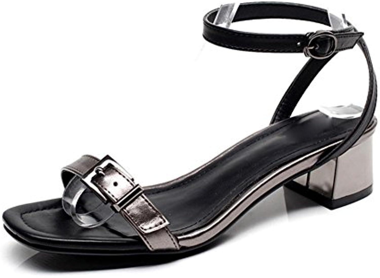 Sandalias de las mujeres del verano ocasional sandalias cómodas gruesas con la hebilla hembra con sandalias abiertas...