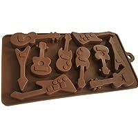 Royal House Ware Molde con diseño de guitarras, de silicona, para Chocolate, Fondant, Bombones, Cup Cake, Galletas, Manualidades, Hornear, cubitos de hielo
