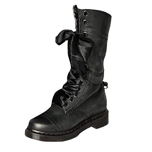 (JiaMeng Frauen Retro Schuhe Leder Middle Boot Rutschfeste Round Toe Lace-Up Cyber Monday Stiefel Schuhe)