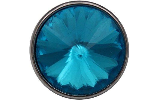Métal Argenté Tige Boutons avec une grande lumière bleu cristal coloré 20 mm Lot de 2