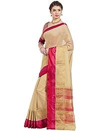 Kvsfab Women's Beige & Red Cotton Silk Woven Zari Saree [KVSSR23024SHIMAYA_4]