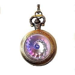 Collar de Reloj de Bolsillo con diseño de Conchas Fractales