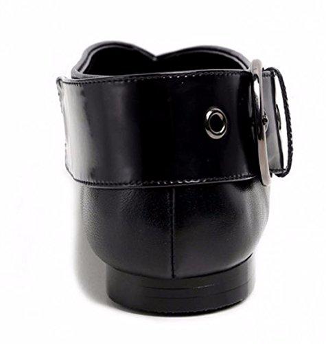 QIYUN.Z Cintura Nera Punta A Punta Di Vacchetta Da Donna Fibbia Scarpe Caviglia Tallone Piano Nero