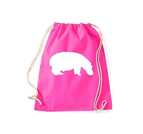 Turnbeutel Tiermotive Zoo Nilpferd Flusspferd hippopotamus Gymsack Kultsack Pink