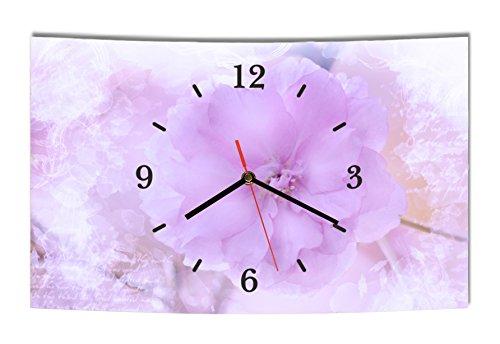 LAUTLOSE Designer Wanduhr Blumen lila weiß modern Dekoschild Abstrakt Bild 38 x 25cm