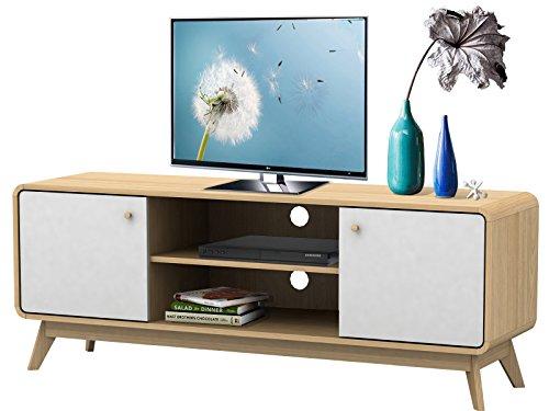 TV-Tisch TV-Board Lowboard Fernsehtisch Fernsehschrank CARMEN FSC Holz, Spanplatte (weiß & Top in Natur)
