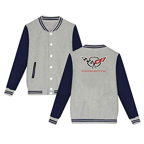 UfashionU Herren Damen Logo-Korvette Kapuzen Baseball Jacke Baumwolle Premium Jacken Grau S Oval Logo Sweatshirt