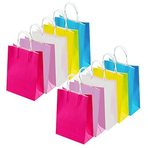 INTVN 25 Stück Papier Geschenktüten, Geschenk Papiertüten EINTVN Paper Gift Bags - 25 Pieces Gift Paper Bags Grocery Bags Craft Paper Bags - Gift Paper Bags - Easy to Carry Packs of Cookies, Grocery