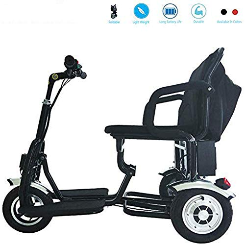 Dp-chair Mobilitätsroller mit Hängesitz, Frontlicht und High Level Charging Point 12ah, Power Rollstuhl Aviation Travel Safe Heavy Duty Mobility Aids Stuhl,Schwarz -