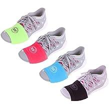 THE DANCESOCKS–Calcetines para zapatillas para bailar en suelos lisos, Black/Red/Lime/Blue, talla única