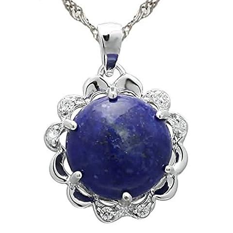 Epinki 925 Sterling Silber Damen Halskette, Blumen Rund Form Anhänger Statementkette Poliert Silberkette Blau Silber 1.6x1.6 CM mit (Amethyst Sterling Silber Kruzifix)