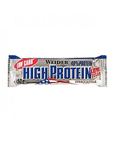 Weider 40{518e1eafe6f5664fcee3e9eef08a6394e873095a70771f1b1ddc496443b4005c} High Protein Low Carb Stracciatella Riegel - 50 Gramm (3.38 EUR/100g)