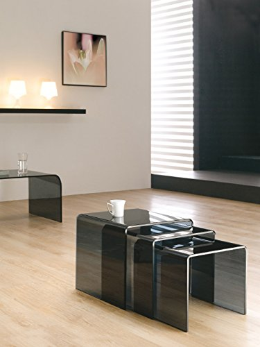 Design-Beistelltisch-3er-Set-aus-Glas-Rauchglas-3-quadrische-Glastische-in-drei-Gren-42cm-38cm-und-34cm-Wohnzimmer-Glastisch-aus-einem-Stck-gebogen-hochwertig-verarbeitet-Preis-fr-alle-3