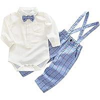 Heecaka Toddler Baby Boy Gentleman Romper Ligueros Plaid Strap Pant Set Conjunto