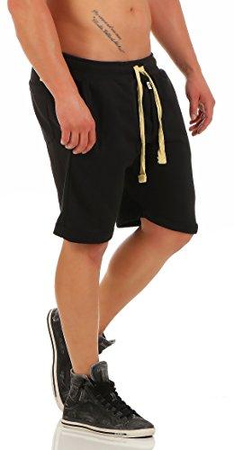 Gennadi Hoppe Herrren Kurze Shorts by leichte Sommershorts, Kurze Hose, Bermuda, Baumwollshorts, Shorts, Sweatpant Shorts Sweat Shorts auch für Jungen,schwarz,XX-Large