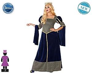 Atosa-61387 Atosa-61387-Disfraz Dama Medieval-Adulto Mujer, Color azul, XL (61387