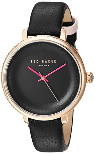 Ted Baker Women's 'ISLA' Quartz Stainless Steel and Leather Dress Watch, Color Black (Model: 10031531)