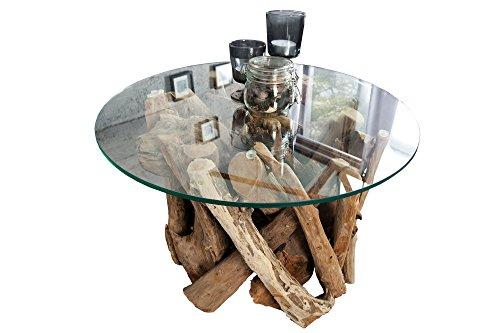 DuNord Design Couchtisch rund Treibholz massiv Glastisch 60cm Glas Holz Tisch WOOD LOUNGE Wohnzimmertisch Natur Sofatisch Massivholz