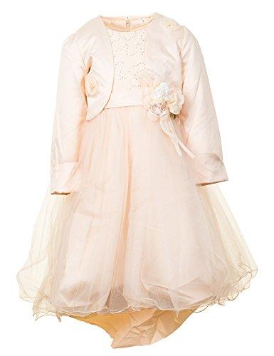 Festliches Mädchen Kleid mit Bolero Hochzeit Festkleid Blumenmädchen in vielen Farben M276cr Creme Gr. 8 / 116 / 122 (Blume Kleid Creme)