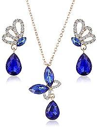 Scrox 2pcs Juego de Joyas Mujeres Joyería Cristales Conjunto Mariposa Collar Brillante Set Rhinestone Pulsera Anillo