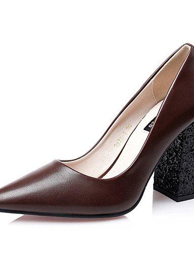WSS 2016 Chaussures Femme-Décontracté-Noir / Rouge / Kaki-Gros Talon-Talons-Talons-Laine synthétique khaki-us5 / eu35 / uk3 / cn34