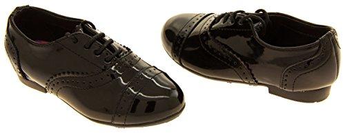 Mädchen GOLA Schwarz beschichtetes Leder brogues Schuhe Schwarz