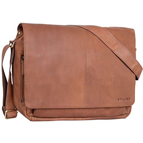 STILORD 'Alex' Vintage Ledertasche Männer Frauen Businesstasche zum Umhängen 15,6 Zoll Laptoptasche Aktentasche Unitasche Umhängetasche Leder, Farbe:sattel - braun