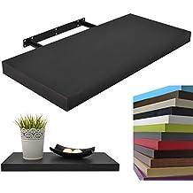 Repisa flotante de pared Pegasus Gran soporte Grosor 3,4cm, 11 Colores, Longitudes 25cm Negro