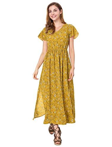 Allegra K Ladies' Summer V-Neck Short Sleeves Split Sides Evening Floral Maxi Dress XS Yellow