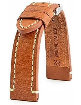LEDERBAND 24 mm BAND CATALONIA Fliegeruhren Retro Look STRAP light brown / hell braun