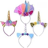 Geboor 4 Pack Licorne Corne Bandeau Cheveux Cosplay Costume pour Anniversaire Célébration Party Festivals