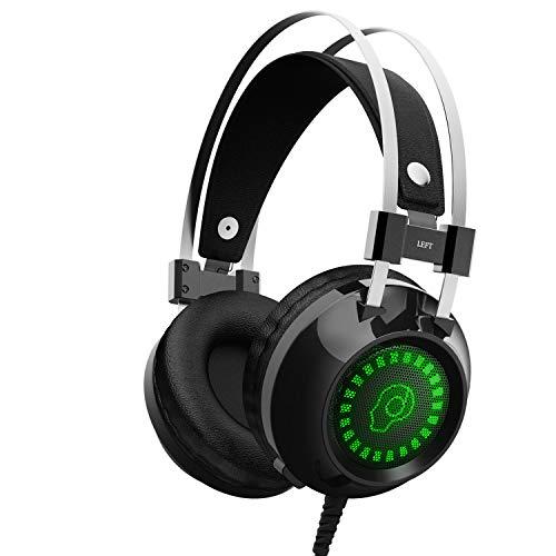 Gaming-Headset für Xbox One, S, PS4, PC mit LED-Softate-Ohrenschützer, verstellbares Mikrofon, bequemer Stumm- und Lautstärkeregler, 3,5 mm Adapter für Laptop, PS3