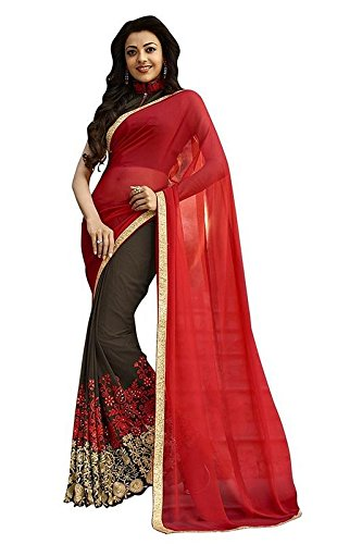 Saree Center Georgette Saree With Blouse Piece (Sc_Brownskirt_Red_Free Size)