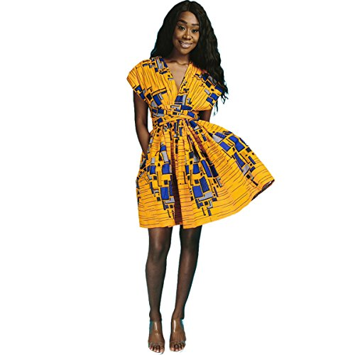 Kostüm Erstellen Pfau Ein - FYMNSI Damen Traditionelles Afrikanisches Dashiki Kleid Multiway Cabrio Hochzeit Brautjungferkleid Ethnischen Stil A-Linie Partykleid Festlich Abendkleid Cocktailkleid Ballkleid Gelb XL